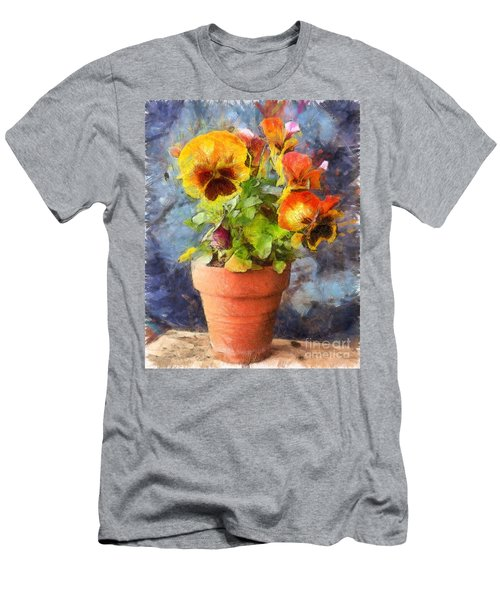 Potted Pansy Pencil Men's T-Shirt (Athletic Fit)