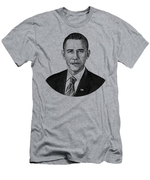 President Barack Obama Graphic Black And White Men's T-Shirt (Athletic Fit)