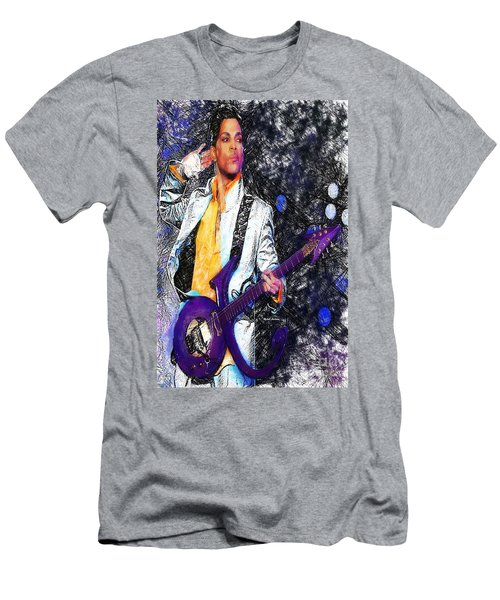 Prince - Tribute With Guitar Men's T-Shirt (Slim Fit) by Rafael Salazar