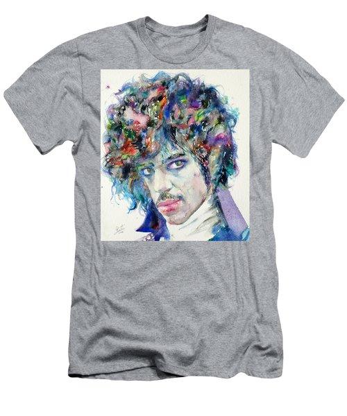 Prince - Watercolor Portrait Men's T-Shirt (Slim Fit) by Fabrizio Cassetta