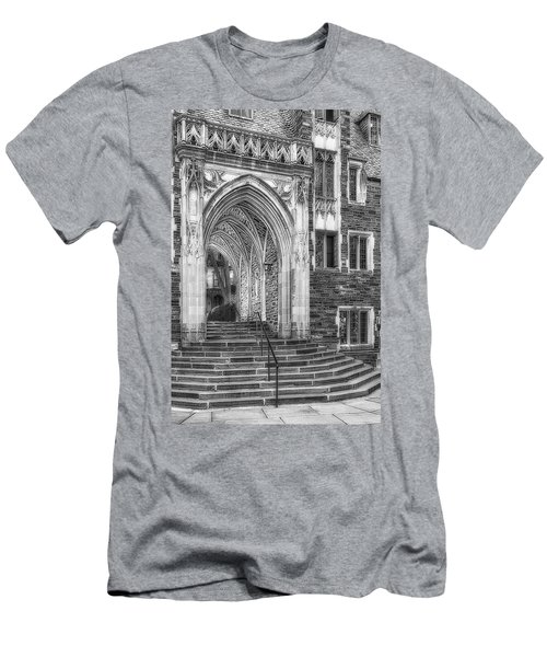 Men's T-Shirt (Slim Fit) featuring the photograph Princeton University Lockhart Hall Dorms Bw by Susan Candelario