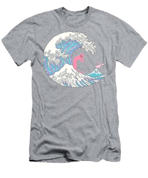 Psychodelic Bubblegum Kunagawa Surfer Cat Men's T-Shirt (Slim Fit) by Julia Jasiczak