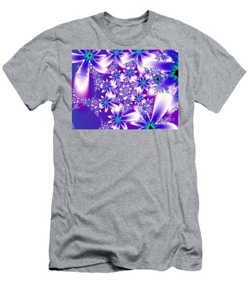 Purple And Blue Fractal Flowers Men's T-Shirt (Athletic Fit)
