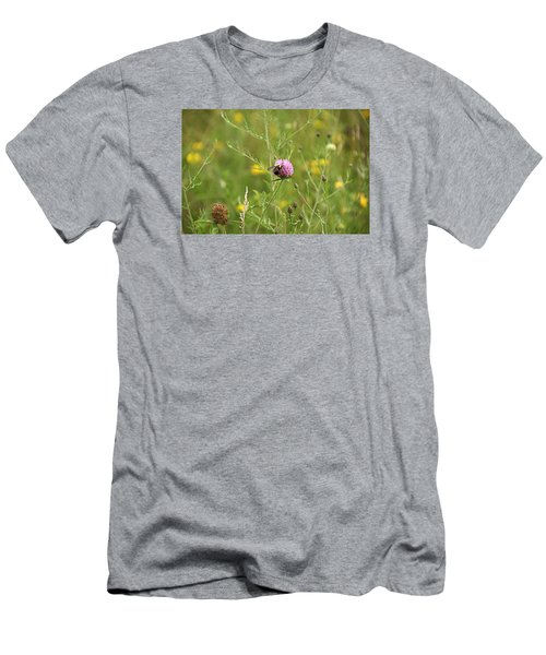 Purple Flower And Bee Men's T-Shirt (Athletic Fit)