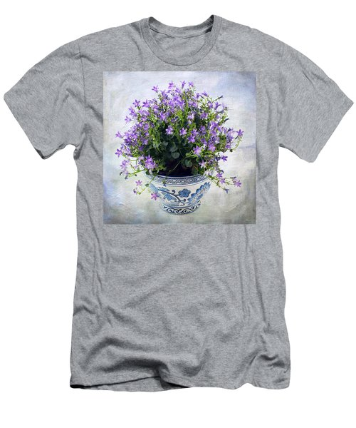 Men's T-Shirt (Slim Fit) featuring the photograph Purple Flowers In Pot by Catherine Lau