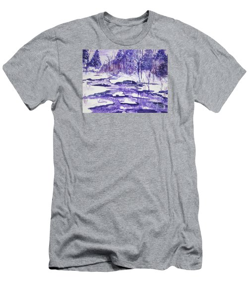 Men's T-Shirt (Slim Fit) featuring the painting Purple Ice On Kaaterskill Creek by Ellen Levinson