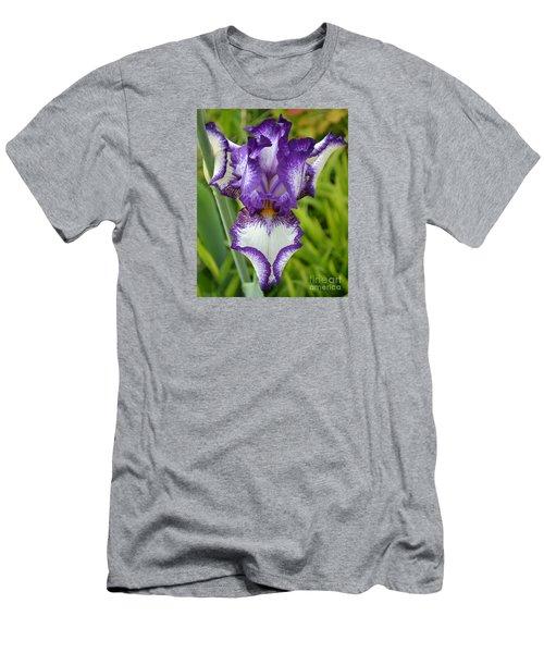 Purple Iris Art Men's T-Shirt (Slim Fit) by Rebecca Margraf