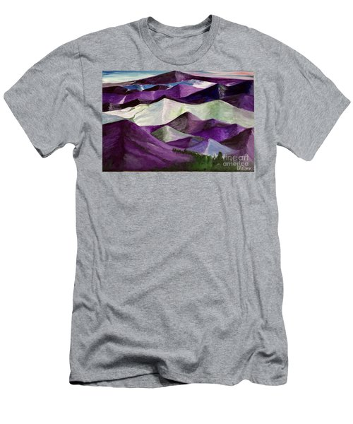 Men's T-Shirt (Slim Fit) featuring the painting Purple Mountains Majesty by Kim Nelson