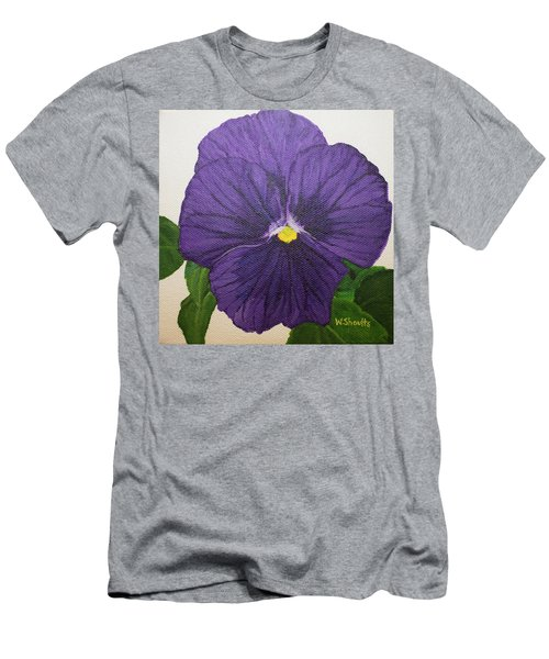 Men's T-Shirt (Slim Fit) featuring the painting Purple Pansy by Wendy Shoults