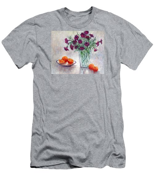 Purple Petunias And Oranges Men's T-Shirt (Slim Fit)