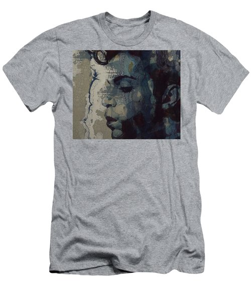 Men's T-Shirt (Slim Fit) featuring the mixed media Purple Rain - Prince by Paul Lovering