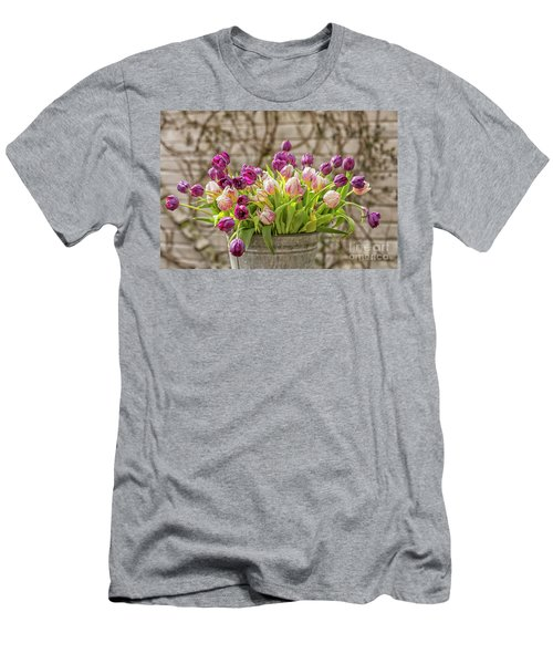Men's T-Shirt (Slim Fit) featuring the photograph Purple Tulips In A Bucket by Patricia Hofmeester