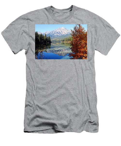 Pyramid Mountain Reflection 3 Men's T-Shirt (Slim Fit) by Larry Ricker