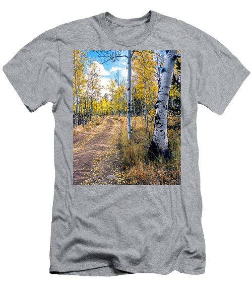 Aspens In Fall With Road Men's T-Shirt (Slim Fit) by John Brink