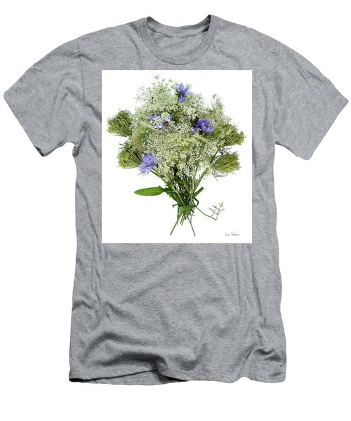 Queen Anne's Lace With Purple Flowers Men's T-Shirt (Slim Fit) by Lise Winne