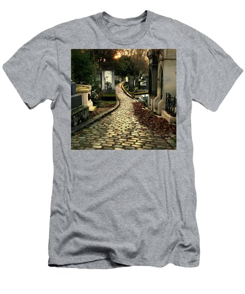 Men's T-Shirt (Slim Fit) featuring the photograph  Pere Lachais Cemetery Road by Katie Wing Vigil