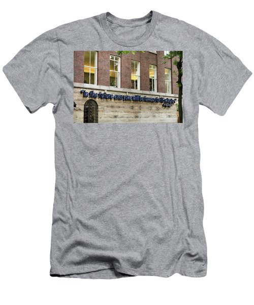 Men's T-Shirt (Slim Fit) featuring the photograph Quote Of Warhol 15 Minutes Of Fame by RicardMN Photography