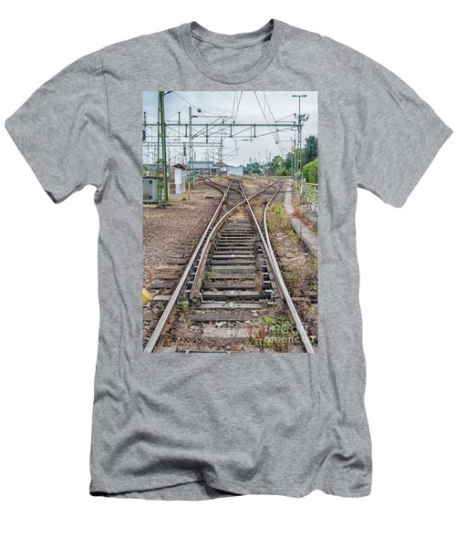 Men's T-Shirt (Slim Fit) featuring the photograph Railroad Tracks And Junctions by Antony McAulay