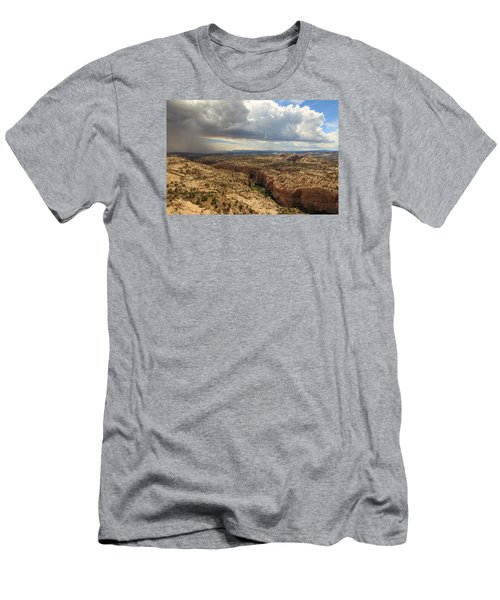 Men's T-Shirt (Slim Fit) featuring the photograph Rain And Sun Over Calf Creek. by Johnny Adolphson