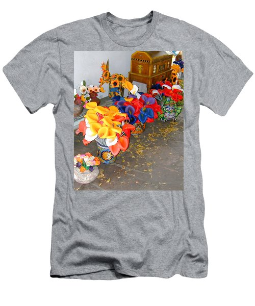 Men's T-Shirt (Athletic Fit) featuring the photograph Rainbow Man Colorful Flowers And Chest by Joseph R Luciano
