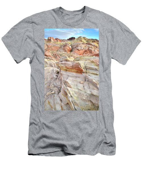 Rainbow Of Color At Valley Of Fire Men's T-Shirt (Slim Fit) by Ray Mathis