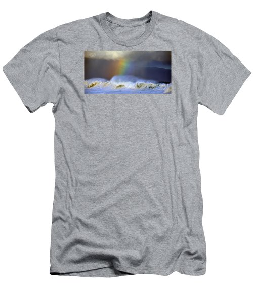 Rainbow On The Banzai Pipeline At The North Shore Of Oahu 2 To 1 Ratio Men's T-Shirt (Slim Fit) by Aloha Art