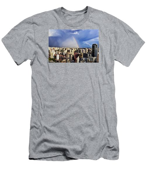 Rainbow Over City Skyline - Sao Paulo Men's T-Shirt (Athletic Fit)