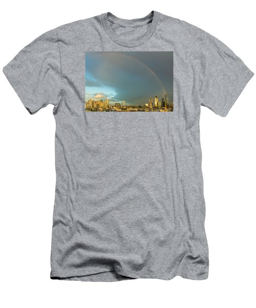Rainbow Over The City Of London Men's T-Shirt (Athletic Fit)
