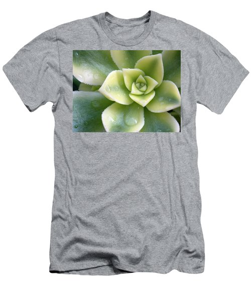 Men's T-Shirt (Slim Fit) featuring the photograph Raindrops On The Succulent by Elvira Butler