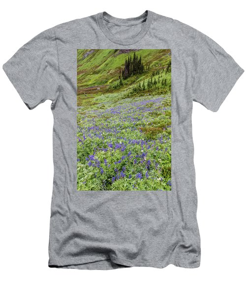 Men's T-Shirt (Athletic Fit) featuring the photograph Rainier Alpine Wildflowers by Pierre Leclerc Photography