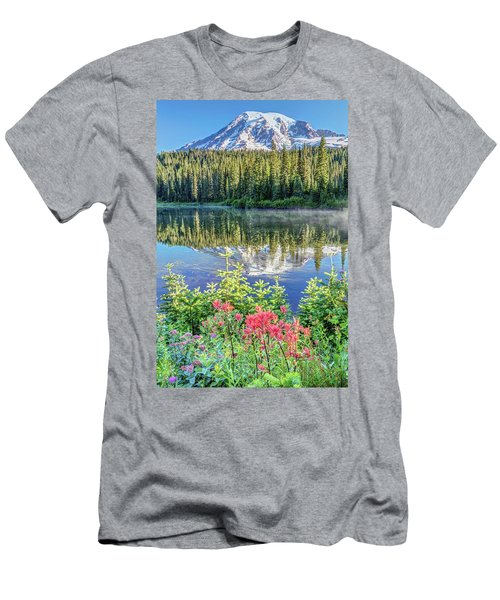 Rainier Wildflowers At Reflection Lake Men's T-Shirt (Slim Fit) by Pierre Leclerc Photography
