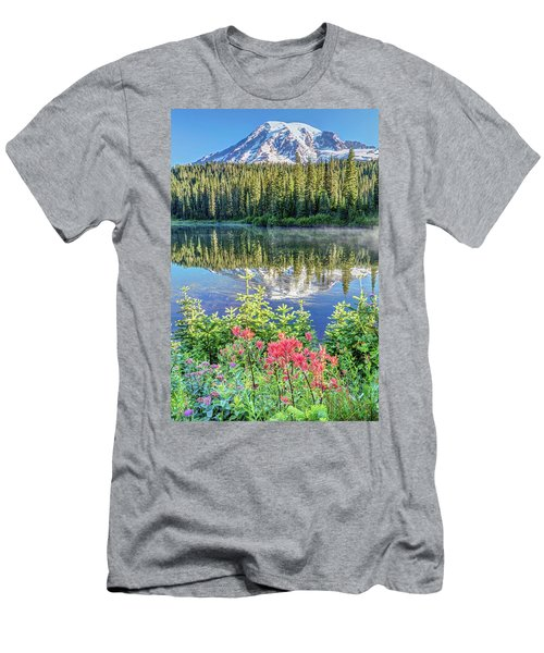 Rainier Wildflowers At Reflection Lake Men's T-Shirt (Athletic Fit)