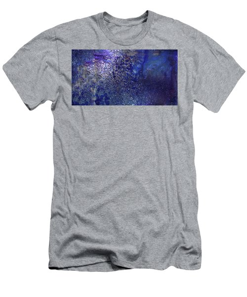 Rainy Night - Blue Contemporary Abstract Art Men's T-Shirt (Athletic Fit)
