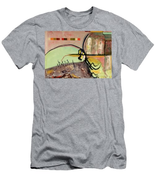 Men's T-Shirt (Slim Fit) featuring the painting Rational Thought Begins Here by Paul McKey