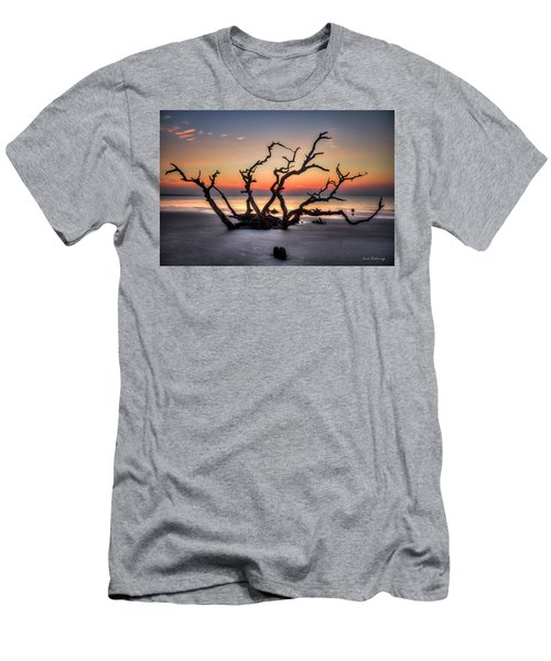 Men's T-Shirt (Athletic Fit) featuring the photograph The Reaching Driftwood Beach Sunrise Jekyll Island Georgia Art by Reid Callaway