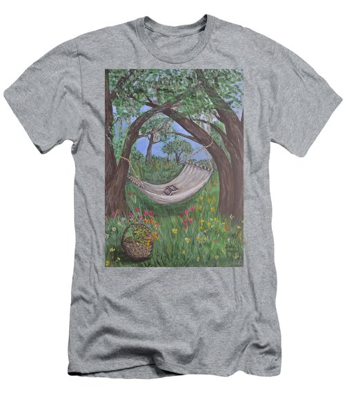 Men's T-Shirt (Slim Fit) featuring the painting Reading Time by Debbie Baker