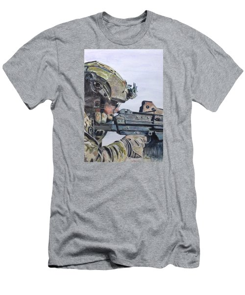 Men's T-Shirt (Slim Fit) featuring the painting Ready by Stan Tenney