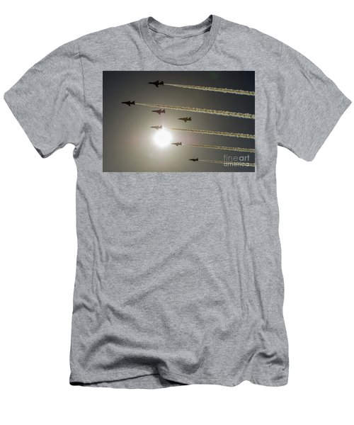 Men's T-Shirt (Athletic Fit) featuring the photograph Red Arrows Backlit Arrival  by Gary Eason