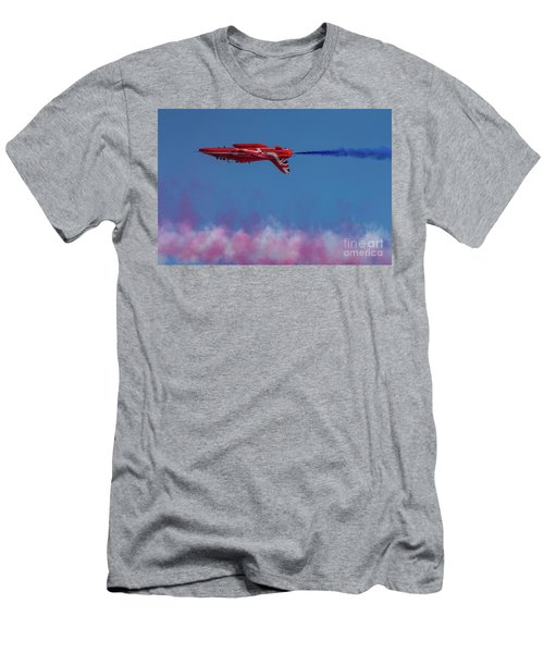 Men's T-Shirt (Athletic Fit) featuring the photograph Red Arrows Hawk Inverted  by Gary Eason