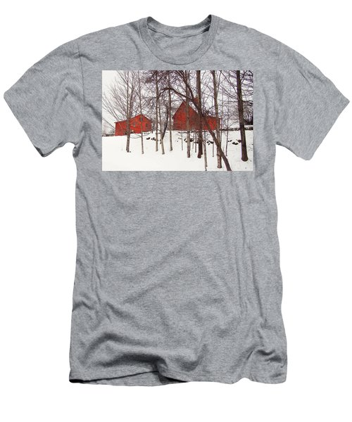 Red Barns Men's T-Shirt (Slim Fit) by Betsy Zimmerli