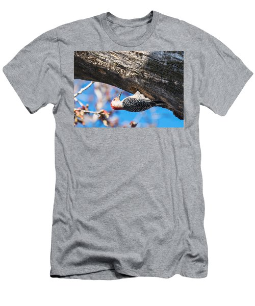 Men's T-Shirt (Slim Fit) featuring the photograph Red-bellied  Woodpecker House Building by Edward Peterson