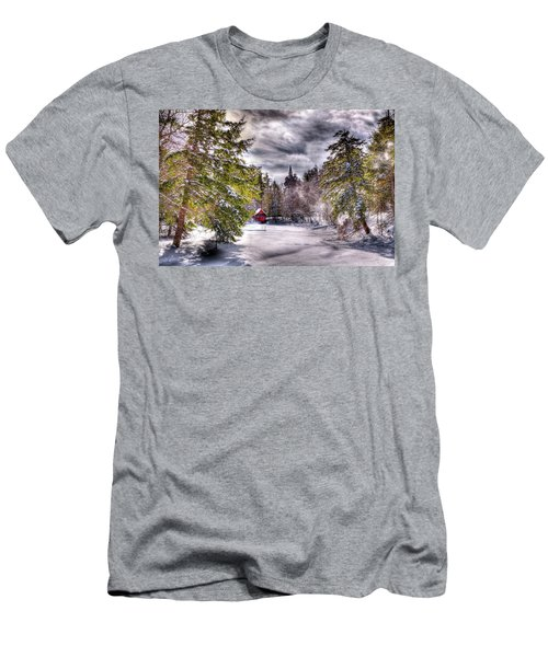 Men's T-Shirt (Slim Fit) featuring the photograph Red Boathouse After The Storm by David Patterson