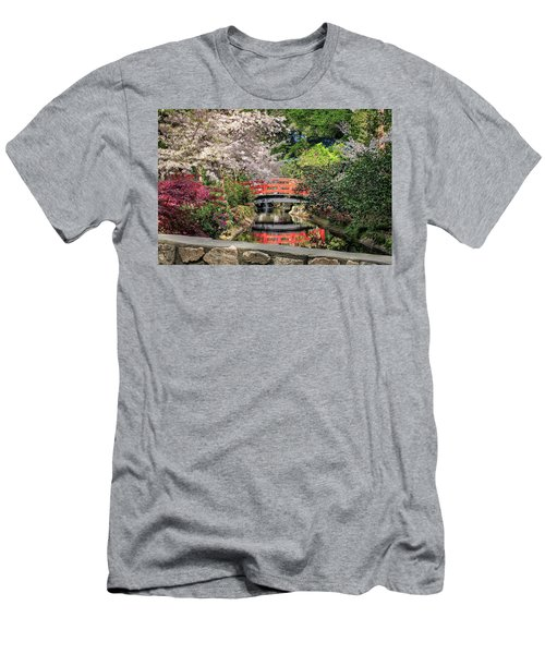Red Bridge Spring Reflection Men's T-Shirt (Slim Fit) by James Eddy