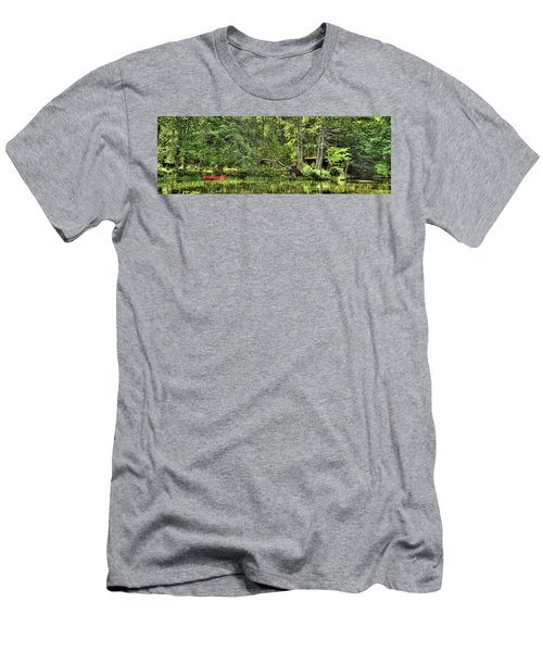 Men's T-Shirt (Slim Fit) featuring the photograph Red Canoe Panorama by David Patterson