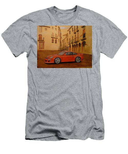 Men's T-Shirt (Athletic Fit) featuring the painting Red Gt3 Porsche by Richard Le Page