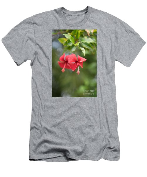 Red Hibiscus Details Men's T-Shirt (Athletic Fit)