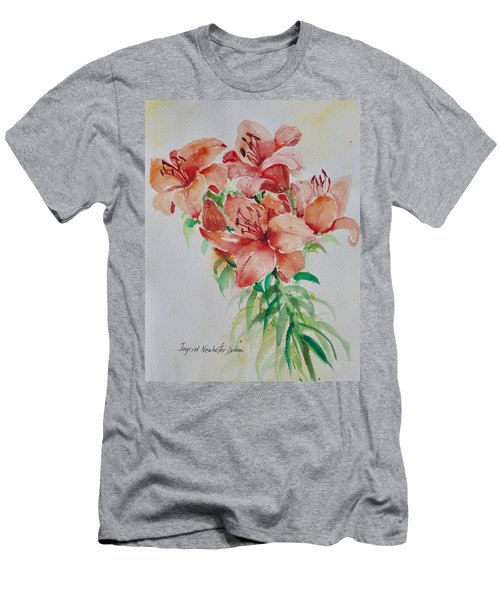Red Lilies Men's T-Shirt (Slim Fit) by Alexandra Maria Ethlyn Cheshire