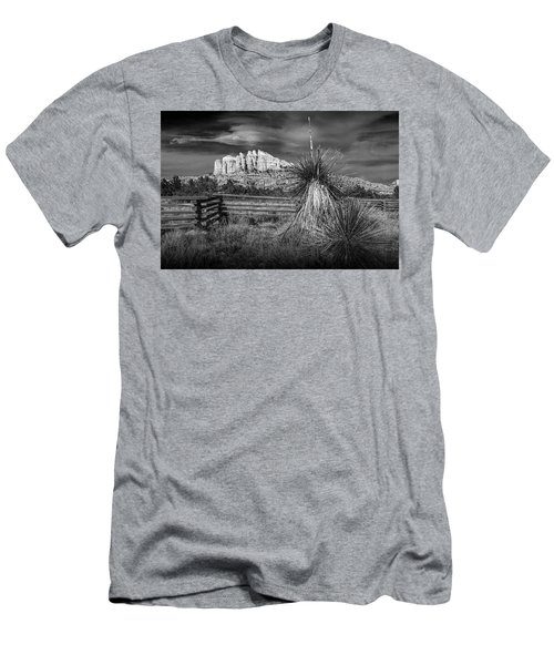 Men's T-Shirt (Slim Fit) featuring the photograph Red Rock Formation In Sedona Arizona In Black And White by Randall Nyhof
