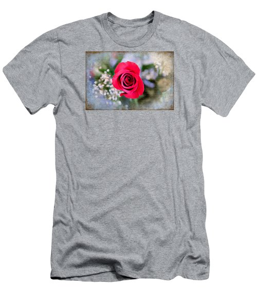Red Rose Elegance Men's T-Shirt (Slim Fit) by Milena Ilieva