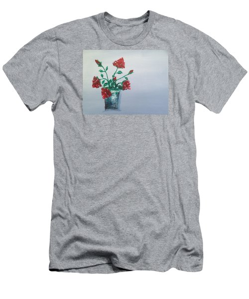 Red Roses In Silver Pot Men's T-Shirt (Athletic Fit)